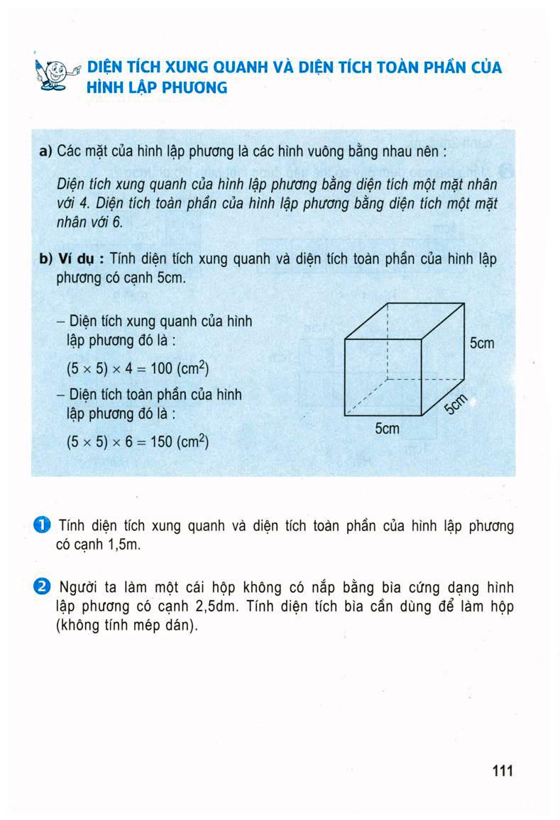 Diện tích xung quanh và tích toàn phần của hình lập phương_Trường Th&THCS Thanh Phú