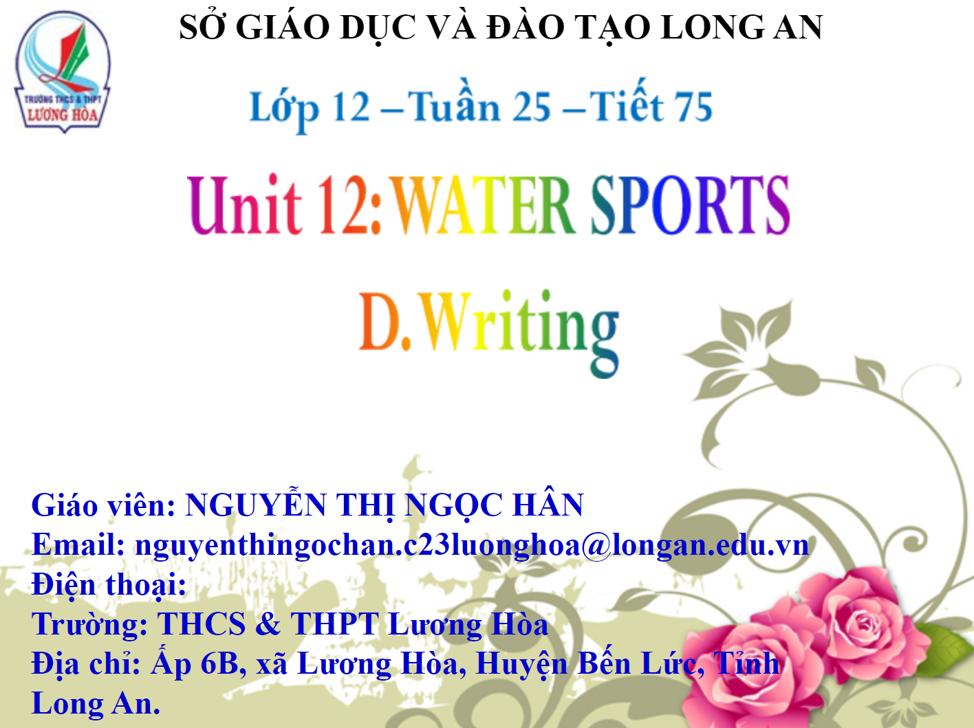 Unit 12: WATER SPORTS D.Writing