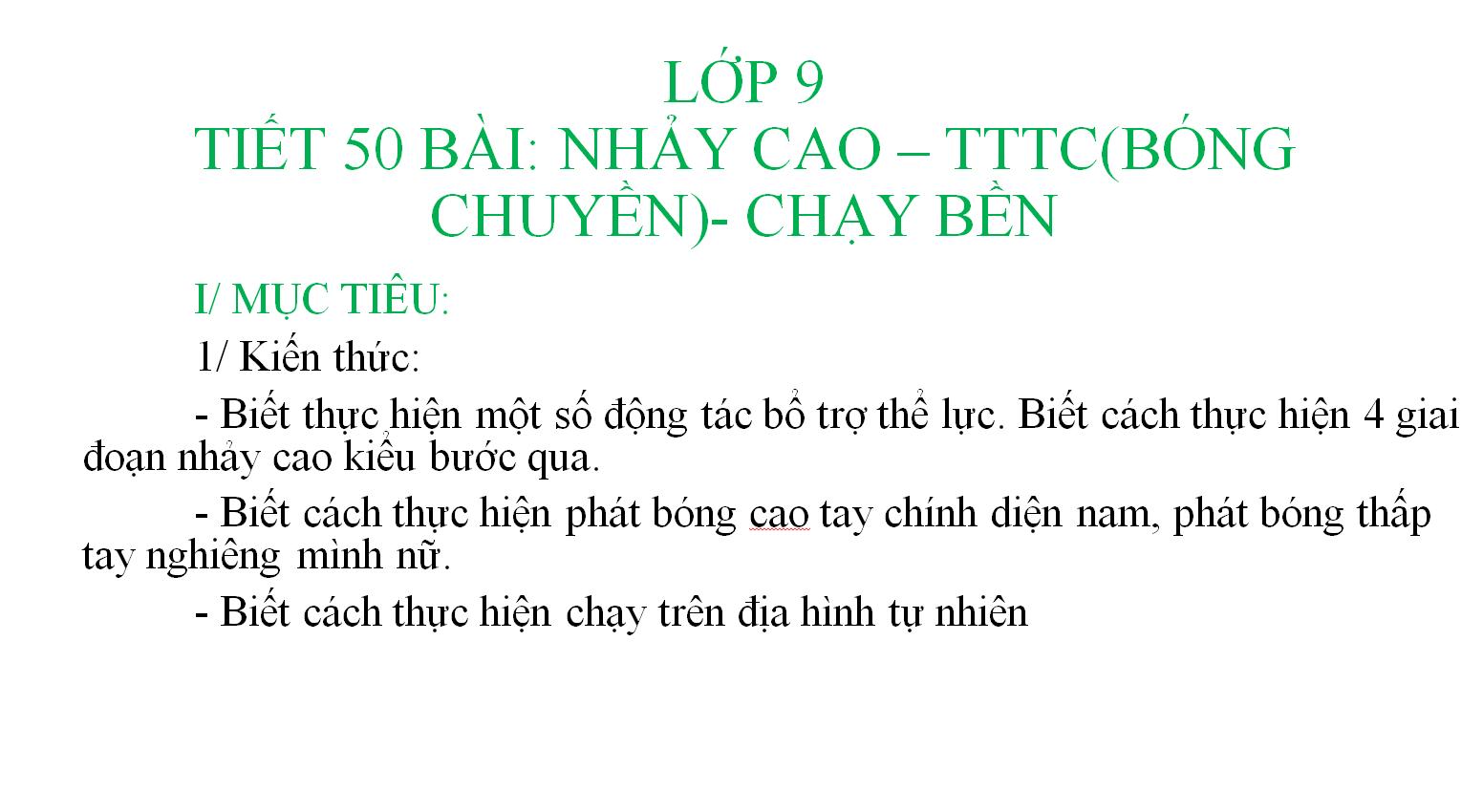Tiết 50 bài nhảy cao, TTTC bóng chuyền, chạy bền_TH&THCS Vĩnh Trị_Vĩnh Hưng