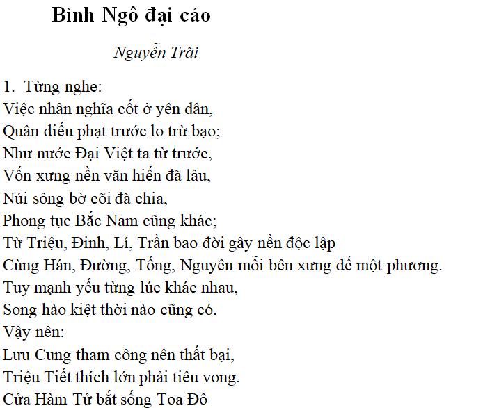 ĐẠI CÁO BÌNH NGÔ - THPT Vĩnh Hưng