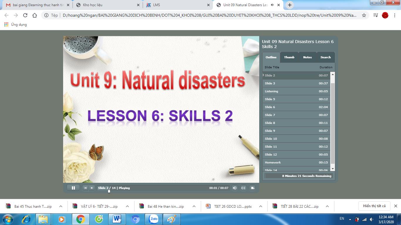 TIẾNG ANH 8_10 NĂM_Tuần 26_tiết 77_Unit 9 Skills 2_TRƯỜNG THCS LÊ ĐẠI ĐƯỜNG_TÂN TRỤ